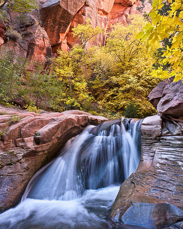 Kanarra Creek Fall Falls  Fall colors & waterfall in Kanarra Creek. Kanarraville, Utah, USA