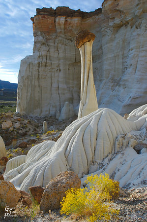 Tower of Silence.  This was taken in the Grand Staircase Escalante National Monument.  This spring there were some yellow wildflowers which made it even more special to visit at sunrise.