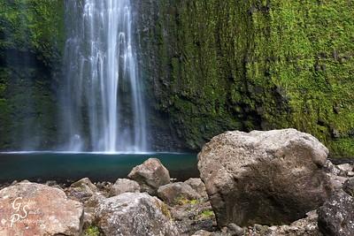 Hi'ilawe Waterfall and Boulder