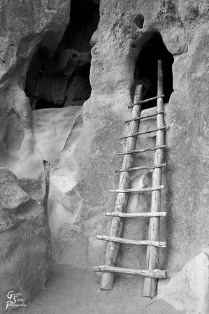 A B&W version of the same ladder.  I like some aspects of the color, but thought B&W also was worthwhile.  From Bandelier National Monument.