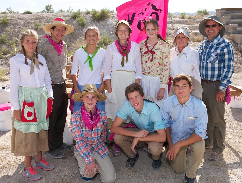 Family portrait handcart trek pioneer